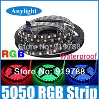 5M 5050 RGB/White Black PCB 300 LED 60led/m SMD Waterproof IP65 DC 12V Flexible Light Strip WLED03