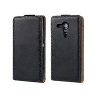 Genuine Leather Flip Case For Sony Xperia SP M35h Black ,Red + Free Shipping