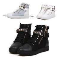 2014Women 's Canvas Punk Rivet Boots Shoes Flat Platform Sports Sneakers Shoes For Women Fashion Belt Buckle Running Shoes