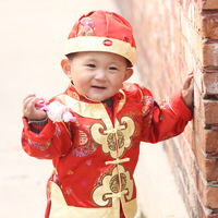 Child tang suit male child spring and autumn big red festive tang suit fu word centenarian baby tang suit