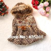 Retail Hot sale New 2014 autumn winter fur collar children's outerwear & coats kids girl baby leopard print warm Jacket