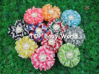 "2013 New 2.4"" chiffon chevron baby hair flowers with pearl stone in center,children hair accessories.40pcs/lot free shipping"