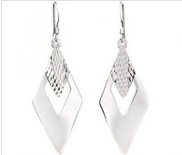 Earrings Female Fashion Accessories  Rhombus Earrings 925 Pure Silver Earrings All-match Earrings accessories