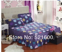 100% cotton thickening seamless patchwork twill cotton-padded print reactivated bed skirt bedcover fitted cover Free Shipping