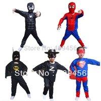 Free shipping Halloween costume,spider man suit spider-man superman batman Zorro Cartoon costume colthes kids Set
