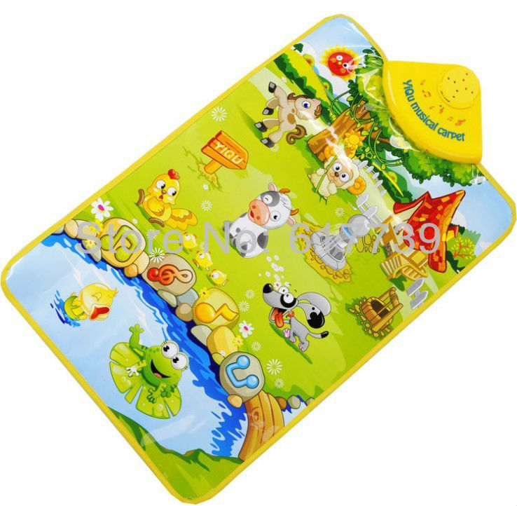FREE SHIPPING Kids Baby Farm Animal Musical Music Touch Play Singing Gym Carpet Mat Toy(China (Mainland))