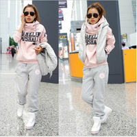 Free shipping autumn and winter Korean women's casual trousers vest sweater high collar hooded track suit three-piece thickening