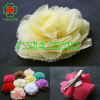 50pcs/lot 10colors 2.4 inches mesh flower hairpin,girls barrettes,baby hair flower