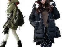 2013 new women's winter plus thick long designed military style hooded duck down jackets eiderdown coats parkas freeshipping