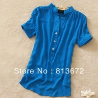 2013 women's vintage single breasted slim candy short-sleeve shirt casual shirt blue white yellow pink black shirt