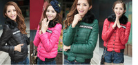 Free Shipping 2013 Winter Women's Cotton-padded Candy Style Thicken With Fur Collars Quilted Jacket 4 Color 902 #