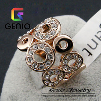 GN R111 Italina18K Gold Plated Extend in all directions ring Made with Genuine SWA ELEMENTS Austria Crystals