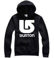 New Men/Women's 100% Cotton Hip Hop BURTON Loose Long Sleeve Sweatshirts Pure Color Print Hooded Sweatshirts