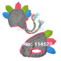 Kids Child Crochet Handmade Knit Hat Dinosaur Cap with Diaper Cover Newborn Baby Photo Photography Prop 17106
