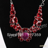 New Arrival 1pc/lot Assorted Shape Clear Resin Silvery Plated Women Alloy Chain Chokers Necklaces + Gift Box 322107