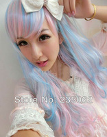 Free shipping, 2013 new Wig, The new Harajuku wig female long hair cos animation wig,  pink + blue,  COSPLAY wig