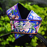 Fashion belt female graphic silk flower patterns bow crushing strap accessories blue handmade