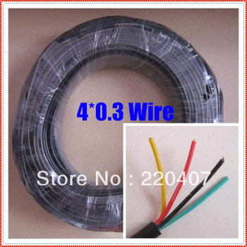 Free Shipping+ 10M  4*0.3 thinned copper Power wire cable extension cable wire cord 4pin Wire cables RVV Power supply wire