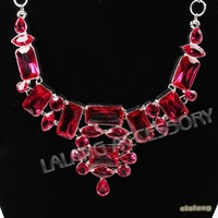 High Quality Fashion Lady's Chokers Necklace 1pc/lot Silvery Tone Chain Colorful Resin Party Necklace+ Gift Box 322115