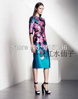 Autumn outfit new temperament idyllic floral dressO-neck Half sleeve Brand DRESS Slim Dress 1022 S,M,L,XL,XXL Free Shipping