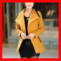 2014 Winter New Arrival Elegant Turn Down Collar Woolen Feminine Jacket With Belt  4 Colors  1010
