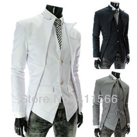 Free Shipping 2013 New Mens Special Suits Asymmetrical Front Design Single Breasted Suits Slim Fit Two Button Casual Blazers