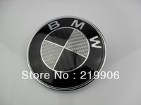 2013 new Real Carbon Fiber Black/Silver 82mmCar badge Front Hood And Rear Trunk Emblem For BMW