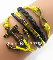 (Min Order $7) Charms Infinity Bangle Antique Bronze Karma Big Anchor & Love Rope Men Girl Leather Bracelet Gift Women Jewelry