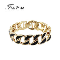 Fashion Jewelry Mother's Day Gift Gold Color Alloy Hollow Out Colorful Enamel Braided Concise Bracelets and Bangles