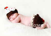 Free shipping The cake style baby hat and shorts handmade crochet photography props newborn baby cap and shorts