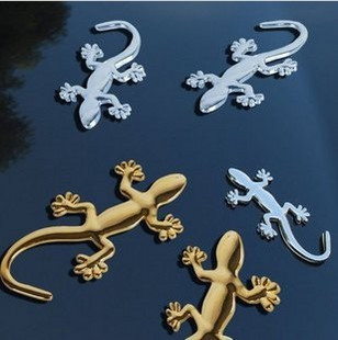 Free shipping 10pc/lot Solid metal car house lizard silver car stereo with 3D paste paste modified house lizard CR002(China (Mainland))