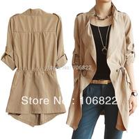 Women Solid Long Trench Coat Outerwear Cardigan Windbreaker Tunic Overcoat