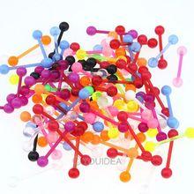 40x wholesale mix Random color acrylic tongue lip piercing body jewelry piercing 61769