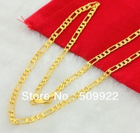 BK04 2013 New Men's Fashion Necklace Jewelry 24K Gold Filled Chain Men Necklace Hign Quality Never Fade Father Gift
