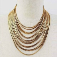 Min Order $18(Can Mix Item)VINTAGE GOLD TONE MULTI LAYER CHAIN NECKLACE CHUNKY