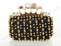 Free shipping leather small skull rivet bag fingers ring clutch designer diamond evening bag