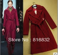 Free Shipping New Luxury Winter Fashion Brands 2013 Woolen Blends Slim Waist Long Ladies Plus Size Runway Trench Outwear Coats