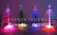 NEW Christmas Decoration Cute and Compact LED Fiber Optic Christmas Tree Best Gift for Christmas 12pcs/lot Free Shipping