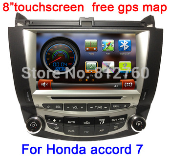"8"" In-Dash 2 Din Car DVD Player For Honda Accord 7(2003-2007) with GPS Navi Bluetooth TV Radio Stereo free memory card with map"
