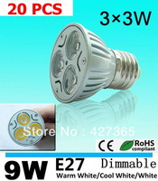 X20 9w Cree spotlight E27 AC85-265V silver die-cast alumium lamp cup energy-saving lamp white/warm white Cree light/led bulb