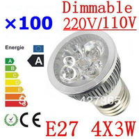 100X High power CREE E27 4x3W 12W 85-265V Dimmable Light lamp Bulb LED Downlight Led Bulb Warm/Pure/Cool White free shipping