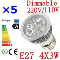 5X High power CREE E27 4x3W 12W 85-265V Dimmable Light lamp Bulb LED Downlight Led Bulb Warm/Pure/Cool White free shipping