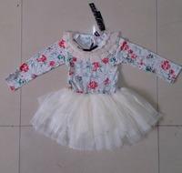 New Arrival Fashion Children Girl Princess Floral Chiffon Tutu Autumn Dress White Orange Navy Blue 1PCS Free Shipping