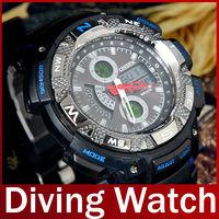 2013 Famous Brand Ohsen Fashion Men Waterproof Diver Diving Sport Watch For Men Women Dive LED Quartz Wristwatch Free Shipping