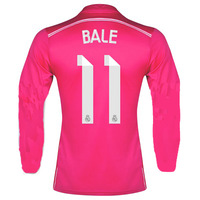 14/15 Real Madrid Away #11 Gareth Bale Pink Jersey long sleeve 2014-15 Cheap Soccer Jerseys football kit free shipping