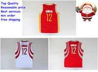 Houston #12 Howard white red yellow throwback vintage retro jersey  REV 30 Basketball jersey Embroidery logos