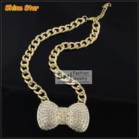 Fashion Korea Style Chunky Gold Chain Big Bowknot Inlay Rhinestone Statement Pendant collar Necklace Women Jewelry Item,B79