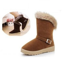 FREE SHIPPING! Women Boots Female Winter 2013 fashion Women's Snow Boots Flat Vintage Buckle Motorcycle Shoes Cow Muscle Outsole