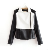 2014 Winter-Autumn New Fashion Brand PU Leather Jacket Women Mixed Colors Motorcycle Ladies Casual Coat  Outerwear 3155