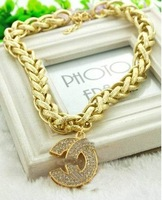 crystal Letter Pendant gold Hemp flowers  Necklace girls jewelry  Women's jewelry accessories